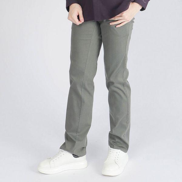 埃及棉休閒棉褲(男)-深綠條