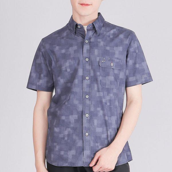 奧地利埃及棉休閒襯衫(男)-寶藍細條