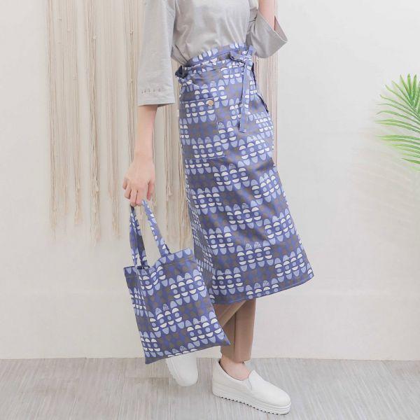 水玉迷宮棉麻半身工作圍裙+小提袋(藍水玉) 手工布料,台灣設計,台灣製造,花布設計,質感袋包,文創設計,刺蝟,提袋,包包,居家良品,提袋,手提包,方包,肩背包,側背包