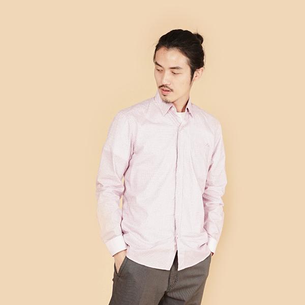 埃及棉舒適商務襯衫(男)-粉紫