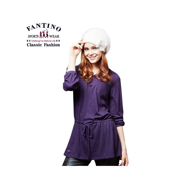 修飾身型鬆緊設計女款長版棉衫(女)-紫46/48/50