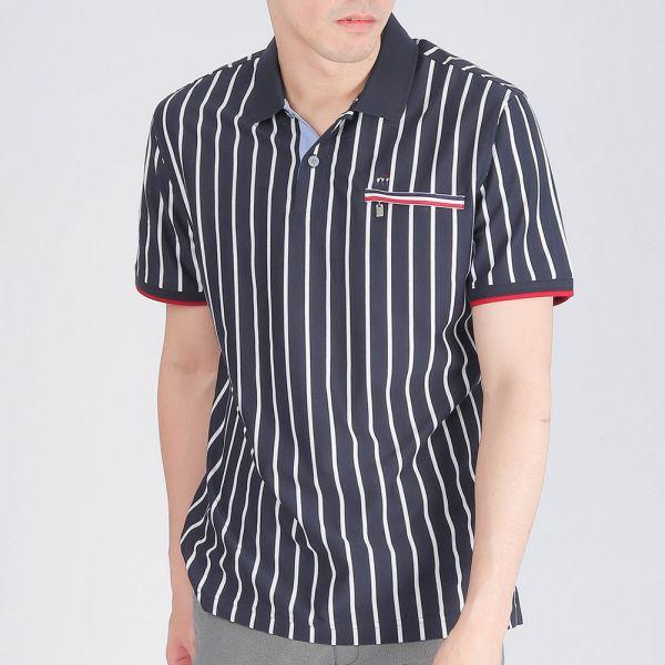 吸濕排汗直紋POLO衫(男)-共2色