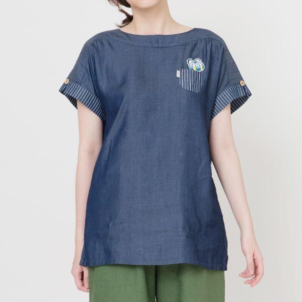 天絲棉繡標棉衫(深藍) 天絲棉,天絲棉,襯杉,服裝,女裝,fantino