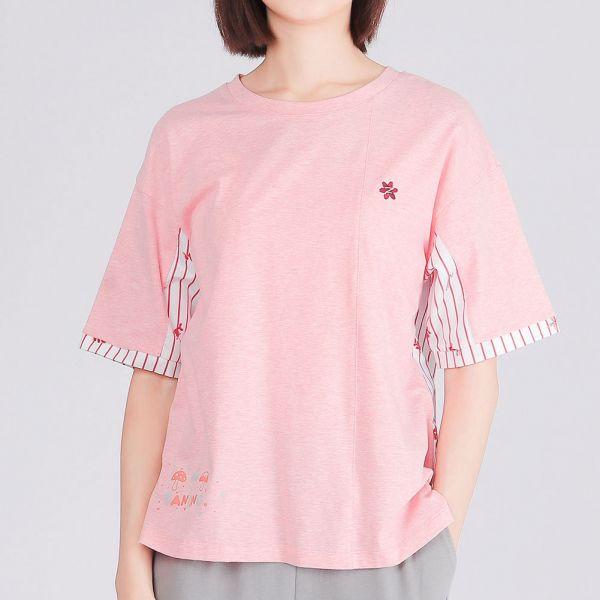 有機棉拼接落肩圓領衫(女)-麻花粉