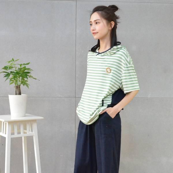 五分袖條紋休閒帽T(共3色) 休閒服,舒適,刺繡,台灣設計,台灣製造,文青,文創設計,刺蝟,戶外休閒