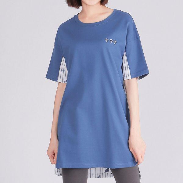 埃及棉拼接緹花布長版圓領衫(女)-藍