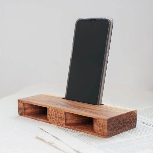 天然柚木手機擴音座-波點款/條紋款│C款 柚木,手機擴音座