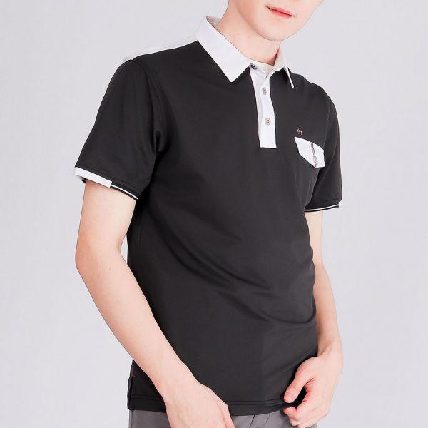 抗UV+吸濕排汗POLO衫(男)-黑