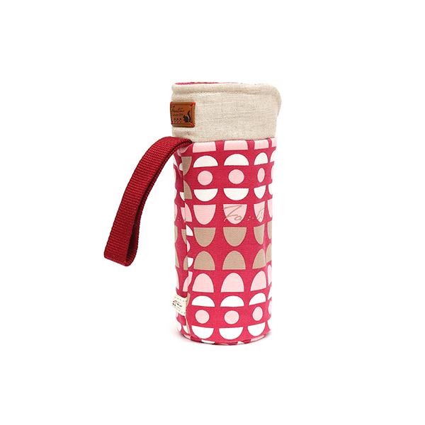 保溫防撞水壺袋/水瓶提袋(水玉迷宮)-紅水玉 保溫袋,水壺袋,水壺提袋,保冰溫,手攜式,防撞,防摔,保溫瓶,玻璃瓶,水壺,學生,保溫杯套,隔熱保護,水杯套