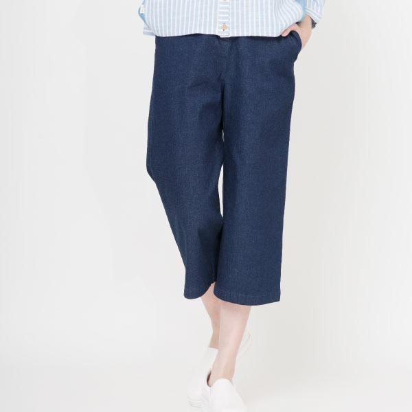 舒適棉寬褲(深藍) 寬褲,長褲,刺繡,休閒長褲,牛仔褲,修飾身型,服裝,女裝,fantino
