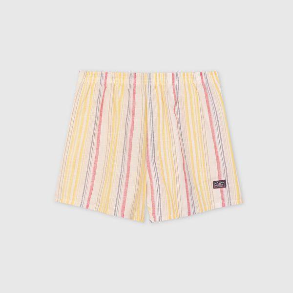 棉麻四角褲/平口褲-細直條紋鵝黃