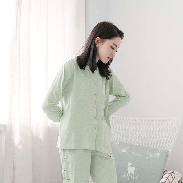 有機棉不對稱衣襬開襟式家居服上衣/居家服-綠(衣) 睡衣,家居服,居家服,家居褲,居家褲,舒服睡衣,umorfil,膠原蛋白紗,美膚膠原蛋白,有機棉,親膚