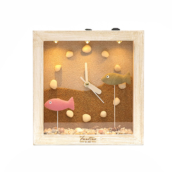 海洋深呼吸 手工木作時鐘-魚魚悠游 咖 家居品, 時鐘, 原木時鐘, 海洋時鐘, 手工時鐘, 療癒時鐘