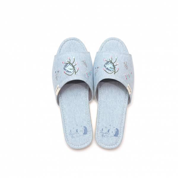 有機棉彩色刺繡家居拖鞋/室內拖鞋-麻花藍(彩色蒲公英) 室內拖,台灣設計,台灣製造,拖鞋,布花,居家良品,防滑,刺蝟,蒲公英