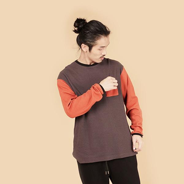 膠原蛋白拼接圓領組織布長袖棉衫(男)-灰橘