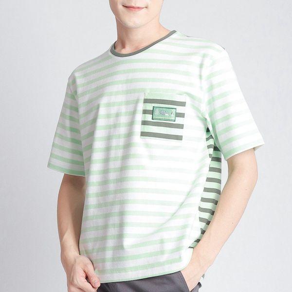 口袋圓領衫(男)-淺綠條紋