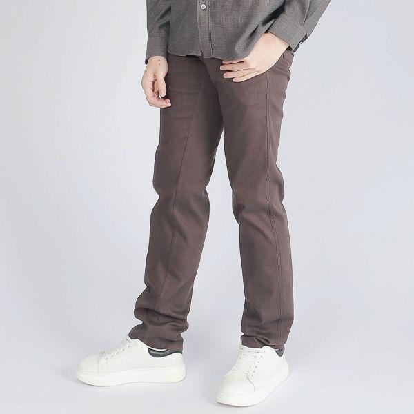 埃及棉休閒棉褲(男)-咖啡條紋