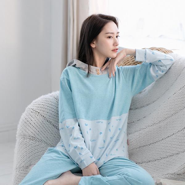有機棉拼接美膚膠原蛋白連帽保暖居家上衣-拼接藍 睡衣,家居服,居家服,家居褲,居家褲,舒服睡衣,umorfil,膠原蛋白紗,美膚膠原蛋白,有機棉,親膚