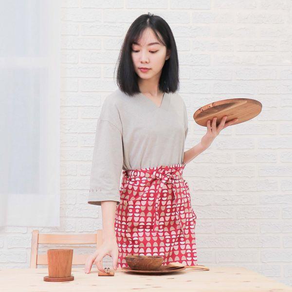 水玉迷宮棉麻半身工作圍裙+小提袋(紅水玉) 手工布料,台灣設計,台灣製造,花布設計,質感袋包,文創設計,刺蝟,提袋,包包,居家良品,提袋,手提包,方包,肩背包,側背包