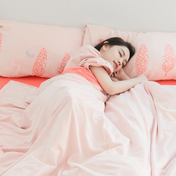 【被套】美膚膠原蛋白針織寢具-櫻花粉/珊瑚橘(共3個尺寸) 女襪,台灣設計,台灣製造,文青,短襪,文創設計,刺蝟,膠原蛋白,居家良品,寢具,枕套