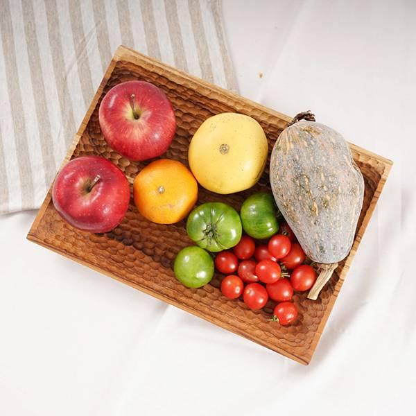 天然柚木厚底方型托盤-波點款/條紋款 柚木,廚房,餐具,木盤