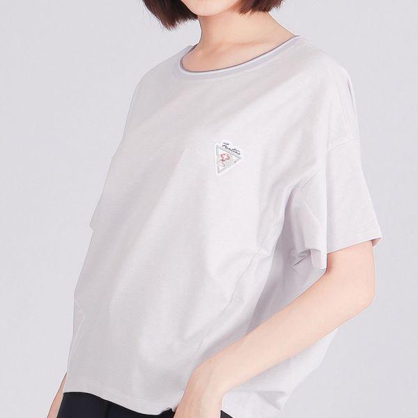 有機棉修身圓領衫(女)-麻花紫