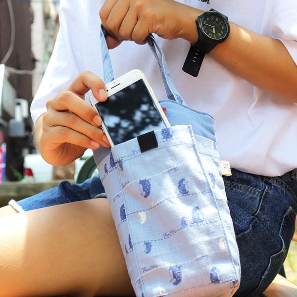 防撞手機水壺袋/水瓶提袋(漫步一線間)-天空藍 飲料杯套,環保杯套,手提杯套,杯套,環保飲料提袋,飲料袋,飲料提袋,婚禮小物,禮物,外帶,環保,防水布,杯套,飲料,提袋,杯套提袋,環保杯袋,環保杯,飲料杯
