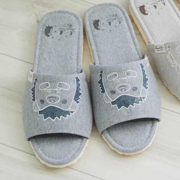 有機棉刺繡家居拖鞋/室內拖鞋-亮片灰(亮片刺蝟) 室內拖,台灣設計,台灣製造,拖鞋,布花,居家良品,防滑,刺蝟,亮片