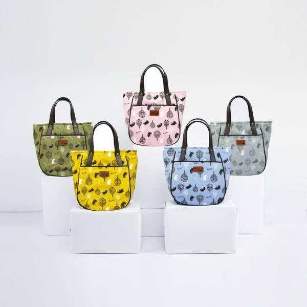 叢林躲貓貓皮革手把磁扣提袋-共5色 手工布料,台灣設計,台灣製造,花布設計,質感袋包,文創設計,刺蝟,提袋,包包,居家良品,提袋,手提包