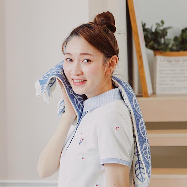 厚質手感色紗百分百棉吸水長型毛巾/運動巾-靛藍 棉,毛巾,浴巾,運動巾,毛浴巾,浴室,台灣製造,吸水
