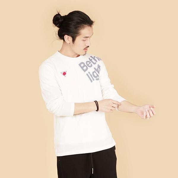刺繡印花休閒棉衫(男)-白