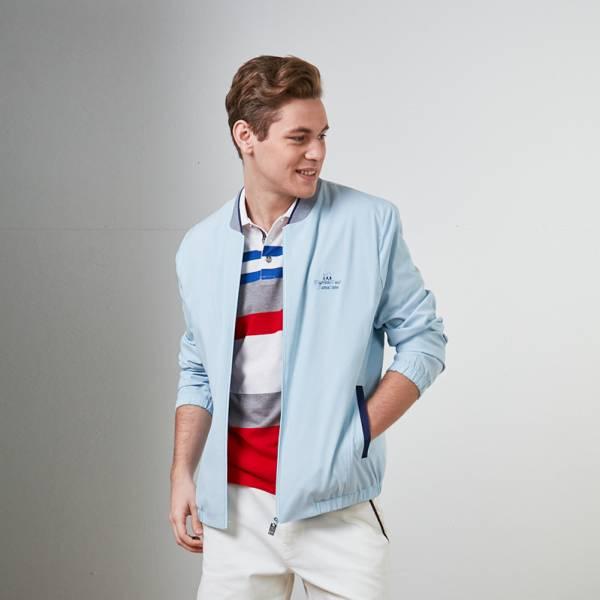吸濕排汗束口機能休閒外套-白/淺灰/淺藍