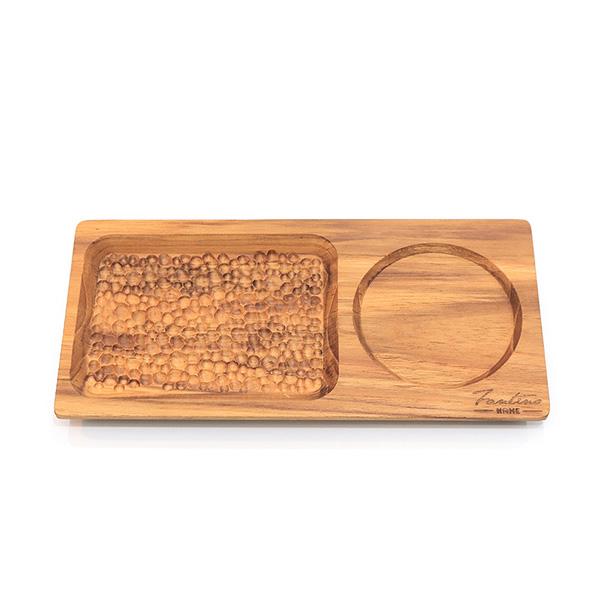 天然柚木咖啡盤-波點款 25*12cm /食用安心不上漆原木製早午餐盤 柚木,廚房,餐具,筷子,環保