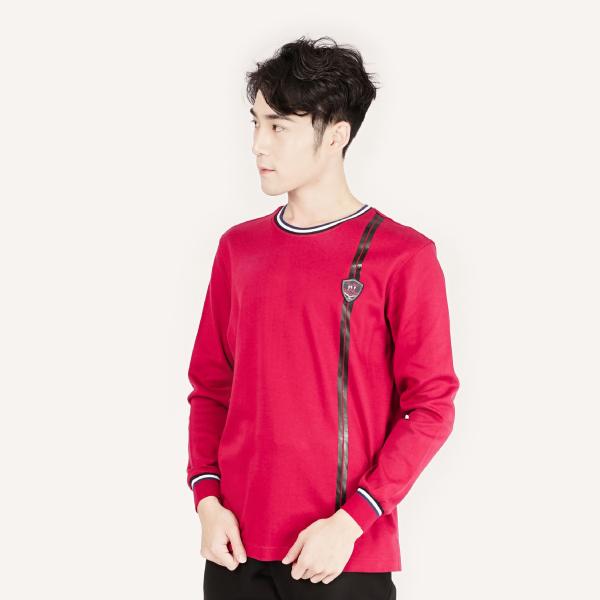 厚紡羅紋袖口運動T恤/棉衫(男裝)-暗紅