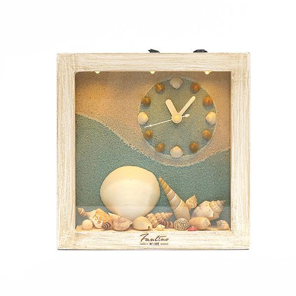 海洋深呼吸 手工木作時鐘-貝殼天堂 右鐘 家居品, 時鐘, 原木時鐘, 海洋時鐘, 手工時鐘, 療癒時鐘