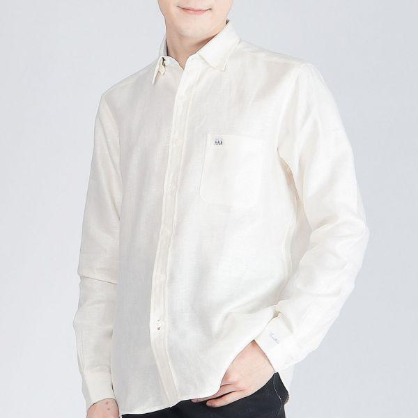 厚紡印度埃及棉商務襯衫(男)-米色