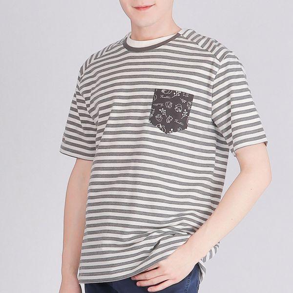 膠原蛋白印花圓領衫(男)-深灰條紋