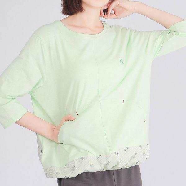 有機棉拼接七分袖圓領衫(女)-麻花綠