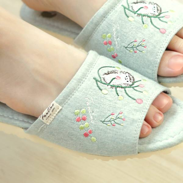 有機棉彩色刺繡家居拖鞋/室內拖鞋-麻花綠(彩色蒲公英) 室內拖,台灣設計,台灣製造,拖鞋,布花,居家良品,防滑,刺蝟,蒲公英