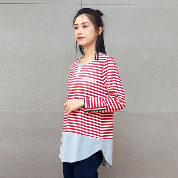 假兩件式條紋棉衫(共2色) 休閒服,舒適,刺繡,台灣設計,台灣製造,文青,文創設計,刺蝟,戶外休閒