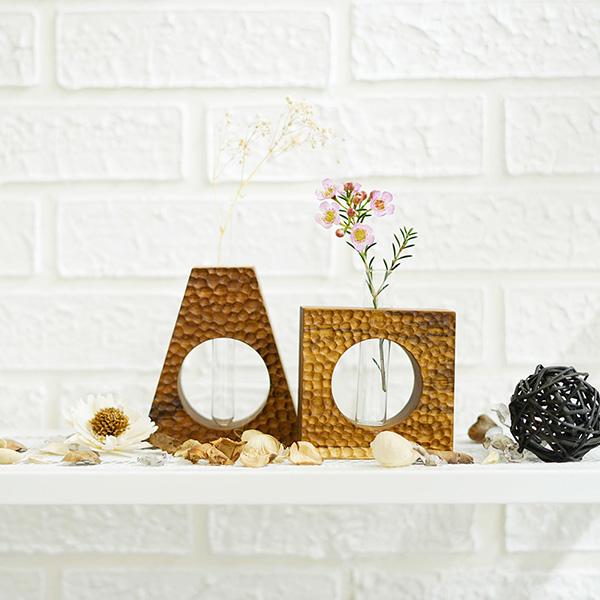 天然柚木玻璃管花器-方型波點款/條紋款 柚木,手機,擴音座
