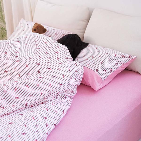 【床包】有機棉針織寢具-櫻花粉 女襪,台灣設計,台灣製造,文青,短襪,文創設計,刺蝟,膠原蛋白,居家良品,寢具,枕套