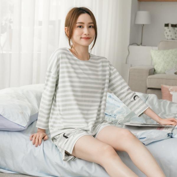 UMORFIL膠原蛋白條紋八分袖家居服上衣/居家服-條紋綠(衣) 睡衣,家居服,居家服,舒服的睡衣,美膚睡衣,膠原蛋白睡衣,fantino睡衣