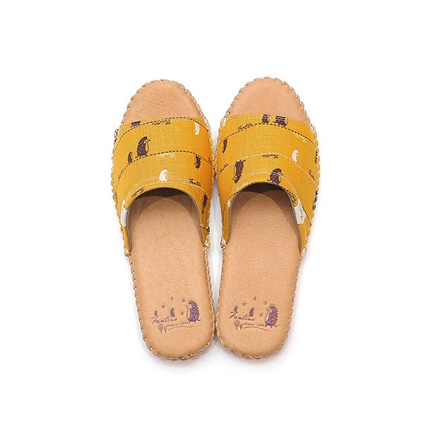 手工縫製真皮布花家居拖鞋/室內拖鞋-芥末黃(漫步一線間) 女鞋,室內拖,台灣設計,台灣製造,拖鞋,布花,居家良品,防滑,刺蝟,豚皮,真皮