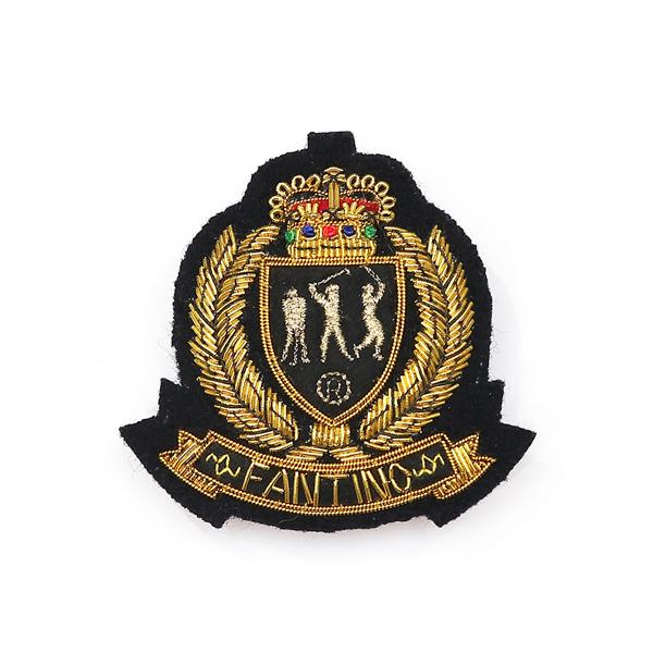 日本設計印度絲手工銅線胸章 - 高爾夫皇冠(共2色) 印度絲,手工,刺繡,銅線,彈簧絲,高爾夫,胸章,徽章