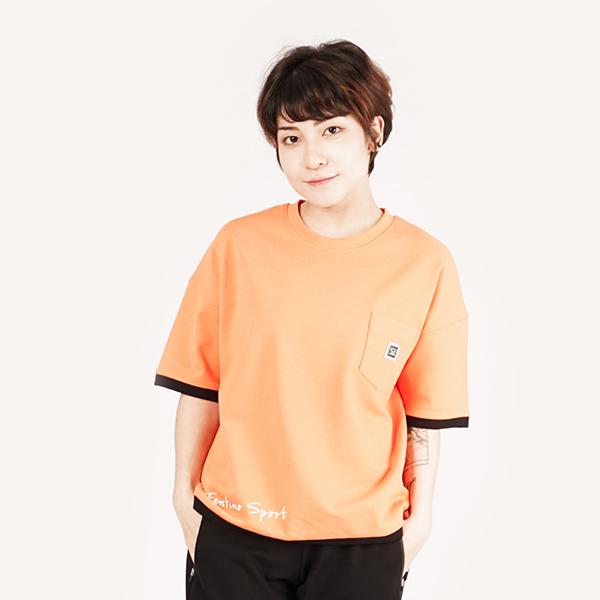 拼接舒適圓領T恤(女)-橘