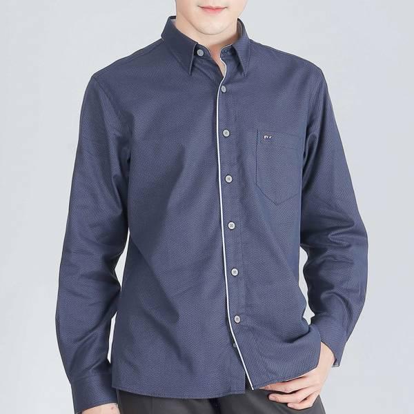 奧地利埃及棉時尚休閒襯衫(男)-藍