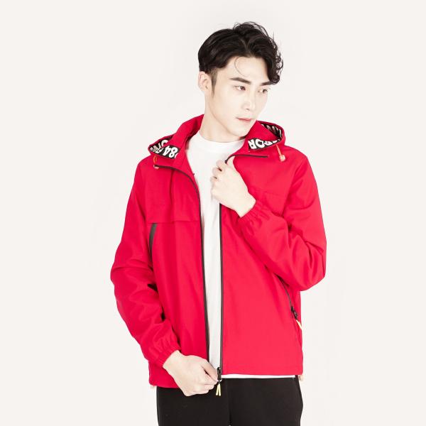防風保暖連帽外套(男)-紅