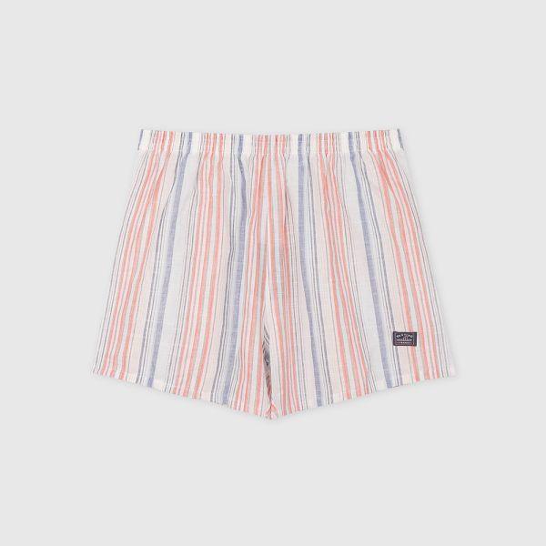 棉麻四角褲/平口褲-直條紋橘