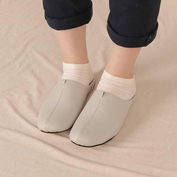 (包腳款)真皮防滑家居拖鞋/室內拖鞋-月球灰 女鞋,室內拖,台灣設計,台灣製造,拖鞋,布花,居家良品,防滑,刺蝟,牛皮,真皮